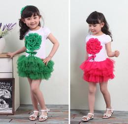 Children's dress Baby Girls short sleeve Dress children big Flower Party Dresses For Summer