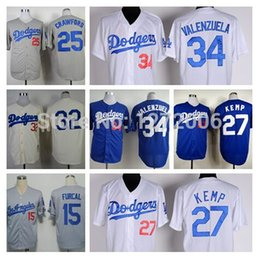 Wholesale 2016 New Fernando Valenzuela Jersey Rafael Furcal Matt Kemp Sandy Koufax Carl Crawford Retro LA Dodgers Baseball Jerseys