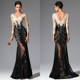 2016 Sexy Sheer Lace Evening Dresses Black and White Mermaid Long Sleeves Evening Prom Dresses V Neck Sequins Appliqued Lace Prom Gowns
