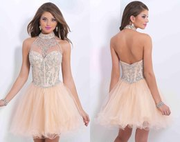 Wholesale 2016 New Arrival Best Selling Small Diamond Halter Dress Skirt Dress Original Single Custom Made Homecoming Cocktail Dress