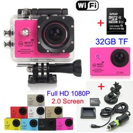 Wholesale SJ7000 P Full HD WiFi Sports Camera FPS MP Waterproof Action Camera GB TF Battery Charger Car bracket LCD Helmet Video DVR
