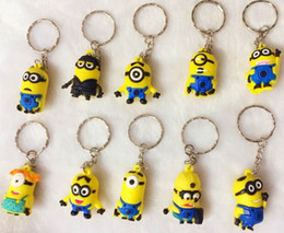 Wholesale 2015 New10 Style Despicable Me Keychain Movie Anime Minions Figure Pendants D Cartoon Car Key Ring Gift