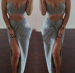 Wholesale best selling Color New Celebrity Bandage Bodycon Cotton Dresses Summer Sexy Women Crop Top Two Piece Set Club Ankle Length dress