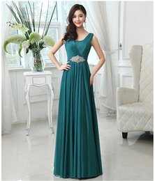2019 New Fashion Scoop Neck Crystal Bridesmaid Dress Long Formal Dress Royal Blue Hunter Red Purple