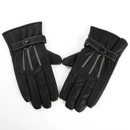 Wholesale Best Selling Men Black Winter Leather Gloves Motorcycle Full Finger Screen Warm Gloves
