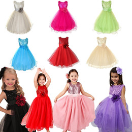 Retail Girls Sequins Flower Princess Party Dresses Children Sleeveless Gauze Ball Gown Formal Evening Dress Kids clothing 10 colors 3-10Y