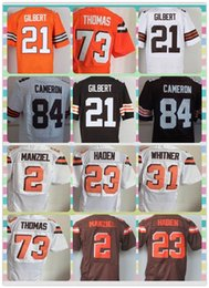 Wholesale New Product Cleveland American Football shirt Manziel Haden Thomas GORDON GILBERT CAMERON White Orange Brown Elite Jerseys