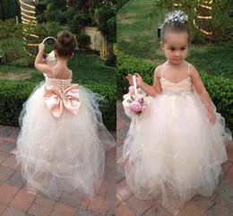 Wholesale paghetti Straps V Neck Flower Girls Dresses Dresses for little Girls Pageant Tulle Skirt Beaded Sash Covered Button Bow Back