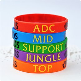 LOL Jeux bracelets en silicone League of Legends DOTA souvenirs bracelet avec TOP ADC MID SUPPORT JUNGLE bande imprimée Creeper Sport Bracelet supplier jungle games à partir de jeux jungle fournisseurs