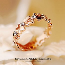 Wholesale Beautiful K Rose Gold Plated Rhinestones Setting Lovely Butterfly Round Design Fashion Lady Finger Ring