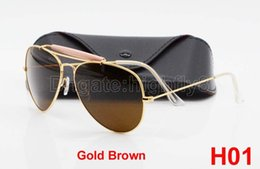 1pcs New Arrival Designer Pilot Sunglasses For Mens Womens Outdoorsman Sun Glasses Eyewear Gold Brown 62mm Glass Lenses With Box And Case