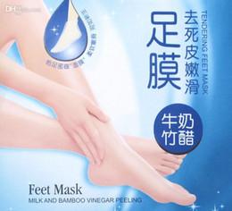 Wholesale ROLANJONA Foot Mask For Feet Peeling Tendering Dead Skin Exfoliator Remover Baby Milk Bamboo Vinegar Peeling Feet Mask pairs pack