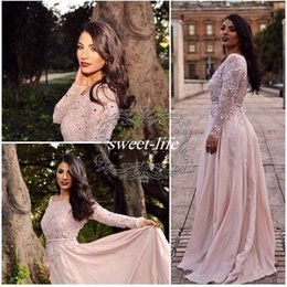 Elie Saab 2020 Blush Prom Dresses A-Line Bateau Lace Floor Length Chiffon Cheap Plus Size Long Sleeve Formal Evening Dress Gowns for Pageant