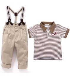 Wholesale 2014 New Baby Clothes Kids Boys Clothing Sets Gentle Short Sleeve T Shirt Suspender Trousers Overalls Suits years