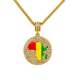 Wholesale 2015 Fashion Hip Hop K Gold Plated Map of Africa Jamaica Circular Necklaces Pendants Alloy Mosaic Crystal Necklace Men
