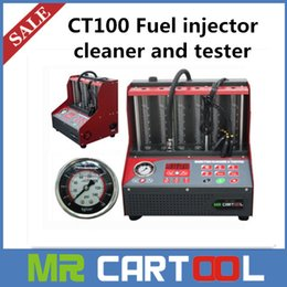 Wholesale 2015 New Arrival CT100 Fuel injector cleaner tester V V with English panel Better than Lanuch CNC A CNC602A DHL FEDEX Shipping