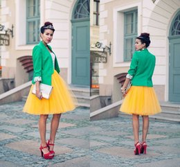 2015 Yellow Tulle Women Ladies Elegant Prom Party Wedding Knee Length Skirts Gauze Expansion Bust Skirt Free Shipping