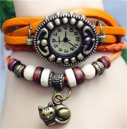 Fille chat cru à vendre-2014 cuir Lady filles Vintage Style de cadeaux de bijoux bracelet de femmes de Haute Qualité bracelet à quartz CAT pendentif montre