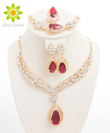 2015 New Fashion Crystal Necklace Collar Jewelry Sets For Women Party Accessories African Beads Earrings Bracelet Ring Set Vintage Red