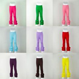 Wholesale Girls Ruffle trousers winter Children Comfortable Cotton Kids Candy Solid leggings Girls pants T baby Girls ruffle Pants