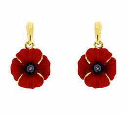 Rose Gold Plated Red Emerald Small Poppy Flower Earrings Remembrance Day Gifts