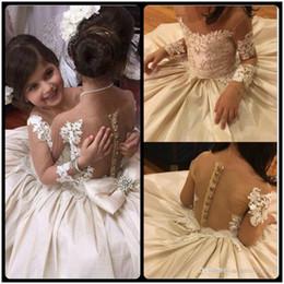 Lace Applique Flower Girls Dresses For Wedding Sheer Neck Bow Beads Long Sleeve Flower Girl Dress Birthday Pageant Dresses