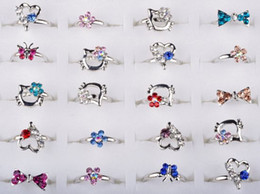 Wholesale Mix Silver Plated Assorted Design Crystal Ring Cute Kid Child Party Small Size Adjustable Fashion Heart ring
