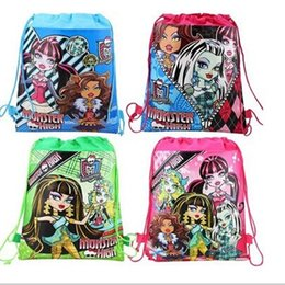 Hot child children's girl's backpack monster high Drawstring bag for child school bag, waterproof camping casual bags for kids Free Shipping