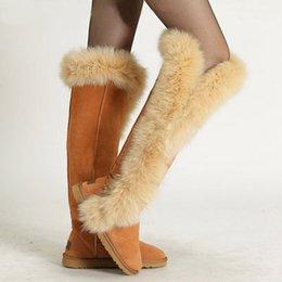 Mode Nature femmes en cuir grande fourrure de renard cuisse bottes de neige chaussures d'hiver longues à partir de longue en cuir femmes boot fournisseurs