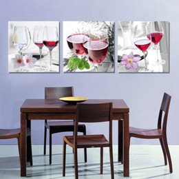 3 Pieces Free Shipping Modern Wall Oil Painting Abstract Red Wine cup glass Kitchen Wall Art Picture Paint On Canvas Prints