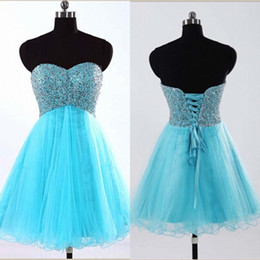 Wholesale Cheap Shiny Party Dresses Short - Real Picture Knee Length Dresses Party Evening Sweetheart Neckline A Line Lace-up Back Shiny Sequins Top Aqua Blue Cheap Homecoming Dresses
