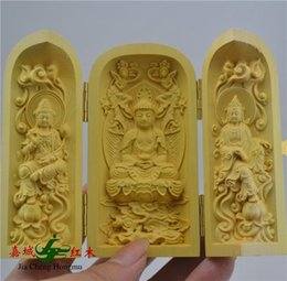 Wholesale Boxwood carving Buddha statues triple box open Western Trinity statue of Buddha carvings Home Decoration