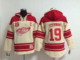 Top Quality ! Red Wings Old Time Hockey Jerseys #19 Steve Yzermane Red Cream Hoodie Pullover Sweatshirts Winter Jacket