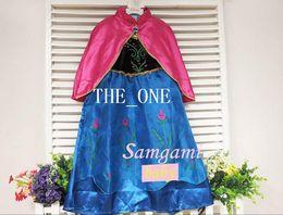 Promotion anna manteau gelé en tenue de stock anna congelés avec anna Manteau robe Cape rouge princesse anna costume robe congelé Reine princesse elsa anna cosplay costume