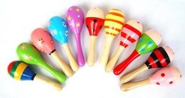 Baby Toys Kids Wooden Rattle Maracas Cabasa Music Instrument Sand Hammer Orff Instrument Maracas Infant toys 20pcs lot