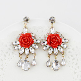 Lastest New Coming Joyeria Fashionable Rhinestone Created Diamond Flower Dangle Earrings