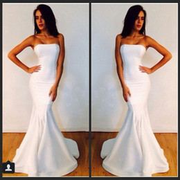 Evening Dresses Strapless Long White Mermaid Michael Costello Prom Dresses Formal Gowns