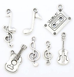 Wholesale MIXED Antiqued Silver Note Music Theme Treble Clef Eighth Guitar Charms Pendants Jewelry DIY Hot sell