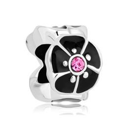 10pcs per lot Rhodium Plating Pink Crystal Black Enamel Open Flower European Beads For Pandora Bracelet