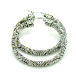 Wholesale 1 Pair Delicate Silver Tone Three kinds of specifications Stainless steel Twist Wire mesh Round Hoop Earrings High Quality