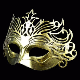 Wholesale 1pcs The Ancient Roman Warriors Mask Masquerade Show Antique Gladiator Crown Mask Evening Performance Halloween Party