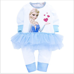 Wholesale 2015 Spring baby romper Frozen girls long sleeve jumpsuit pure color cartoon image girls lace clothes kids one piece sets GR156