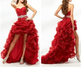 High Low Red Prom Dresses Custom Beads Belt Organza Prom Gown Long Formal Dresses Front Short Long Back Formal Gown Sweetheart Evening Gown