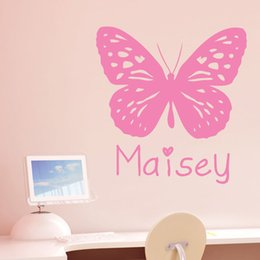 Personalised Girls Name Butterfly Bedroom Vinyl Wall Sticker Decal for Kids Room Decor