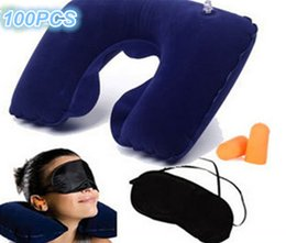 Wholesale three piece portable travel U shaped inflatable neck pillow travel pillow aviation picture air pillow goggles earplugs