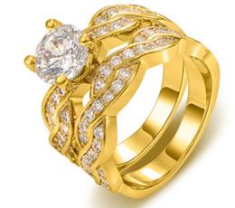 Luxury Sz5-10 Brand 18k yellow gold filled AAA cubic zirconia Round cut Women Wedding Ring Set gift
