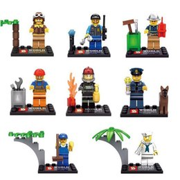Wholesale 8pcs movie Different City Occupations Kid Baby Toy Mini Figure Building Blocks Sets Model Toys Minifigures Brick with box