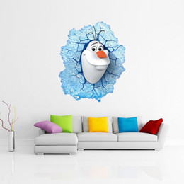 2015 Wholesale 3D Frozen Wall Stickers Wall Decals Removable And Waterproof Background Wall Stickers Wallpaper For Kindergarten Kids Room