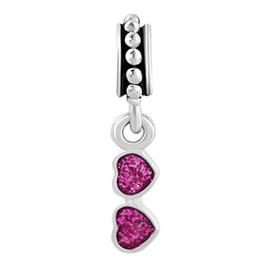 glitter red enamel Rhodium Plating sunglass Dangle charm metal slide Spacer bead European pendant fit Pandora Chamilia Biagi charm bracelet