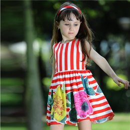 Pettigirl Retail Summer Flower Baby Girl Dress With Red Stripe And Print Floral Children Dress For Kids Clothes GD80828-125F